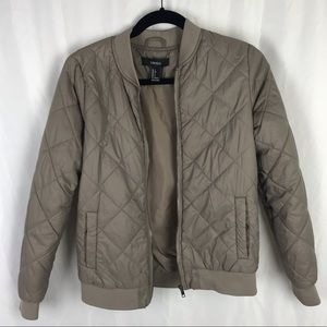 Forever 21 Taupe Quilted Tan Bomber Jacket